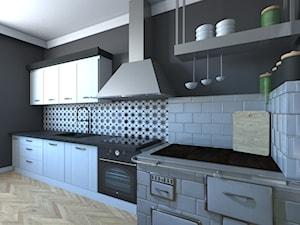 Duża zamknięta czarna kuchnia jednorzędowa z oknem, styl vintage - zdjęcie od Labstudio - Architektura wnętrz & Design