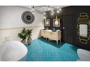 Płytki cementowe na podłodze w łazience - zdjęcie od Cerames