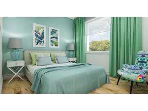 Mieszkanie dla czworga aktywnych. - Średnia biała turkusowa sypialnia małżeńska, styl nowoczesny - zdjęcie od SZTUKA ARANŻACJI WNETRZ