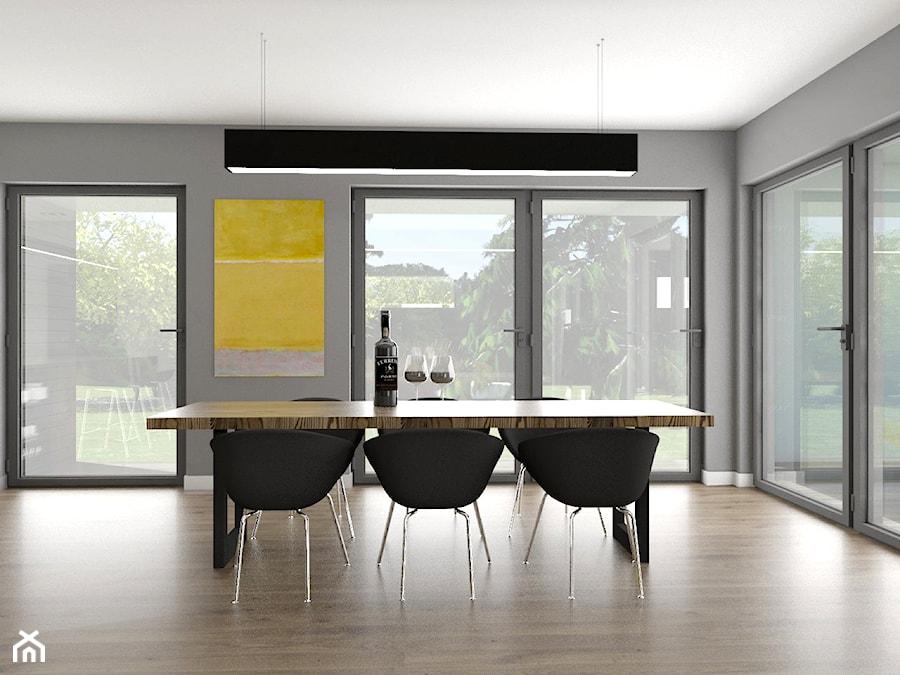 Antracytowe wnętrze - Duża szara jadalnia jako osobne pomieszczenie, styl industrialny - zdjęcie od Marta Malina