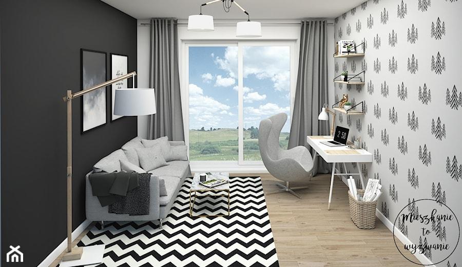 Dom pod Warszawą - Simon G2 - Średnie czarne biuro domowe kącik do pracy w pokoju, styl skandynawski - zdjęcie od Mieszkanie to wyzwanie