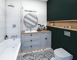 Łazienki - Średnia zielona łazienka w bloku w domu jednorodzinnym bez okna - zdjęcie od Mieszkanie to wyzwanie