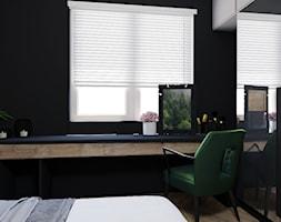 Sypialnia - Mała czarna sypialnia małżeńska, styl nowoczesny - zdjęcie od Katrilo Projektowanie wnętrz - Homebook
