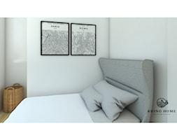 Kawalerka - Mała biała sypialnia, styl skandynawski - zdjęcie od Rhino Home