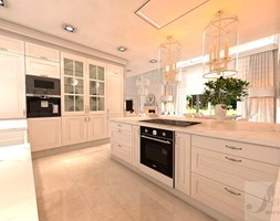 DOM Z OTWARTA ANTESOLĄ - Duża otwarta biała kuchnia w kształcie litery l w aneksie z oknem, styl art deco - zdjęcie od Boskie Wnetrza i Ty