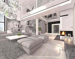 ARANŻACJA SALONU Z ANTRESOLA - Duży biały salon z antresolą, styl vintage - zdjęcie od Boskie Wnetrza i Ty