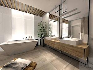 ARANŻACJA DOMU JEDNORODZINNEGO OLEŚNICA - Duża biała szara łazienka jako salon kąpielowy, styl industrialny - zdjęcie od Boskie Wnetrza i Ty