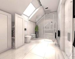 DOM Z OTWARTA ANTESOLĄ - Duża biała łazienka na poddaszu w domu jednorodzinnym z oknem, styl vintage - zdjęcie od Boskie Wnetrza i Ty
