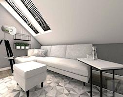 BIURO W DOMU - Średnie szare biuro domowe na poddaszu w pokoju, styl industrialny - zdjęcie od Boskie Wnetrza i Ty
