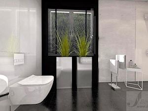 ARANŻACJA DOMU JEDNORODZINNEGO OLEŚNICA - Średnia biała czarna łazienka na poddaszu w domu jednorodzinnym z oknem, styl nowoczesny - zdjęcie od Boskie Wnetrza i Ty