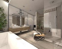 ARANŻACJA DOMU JEDNORODZINNEGO OLEŚNICA - Duża szara łazienka w bloku w domu jednorodzinnym z oknem, styl industrialny - zdjęcie od Boskie Wnetrza i Ty