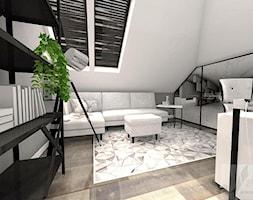 BIURO W DOMU - Średnie szare biuro domowe kącik do pracy na poddaszu w pokoju, styl industrialny - zdjęcie od Boskie Wnetrza i Ty