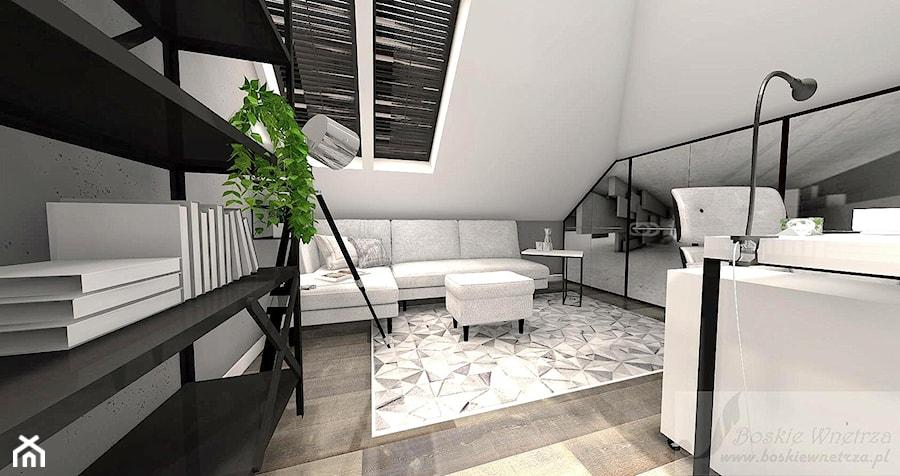Aranżacje wnętrz - Biuro: BIURO W DOMU - Średnie szare biuro domowe kącik do pracy na poddaszu w pokoju, styl industrialny - Boskie Wnetrza i Ty . Przeglądaj, dodawaj i zapisuj najlepsze zdjęcia, pomysły i inspiracje designerskie. W bazie mamy już prawie milion fotografii!