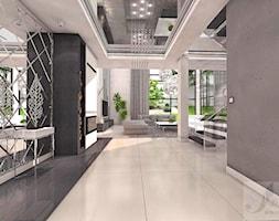 ARANŻACJA SALONU Z ANTRESOLA - Średni biały hol / przedpokój, styl włoski - zdjęcie od Boskie Wnetrza i Ty
