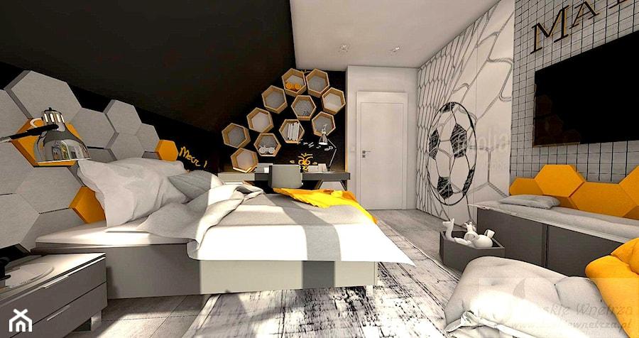 Aranżacje wnętrz - Sypialnia: POKÓJ CHŁOPCA - Duża biała szara czarna sypialnia na poddaszu - Boskie Wnetrza i Ty . Przeglądaj, dodawaj i zapisuj najlepsze zdjęcia, pomysły i inspiracje designerskie. W bazie mamy już prawie milion fotografii!