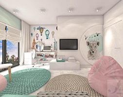 POKÓJ FANKI KRÓLICZKÓW - Duży biały pokój dziecka dla dziewczynki dla ucznia dla malucha dla nastolatka - zdjęcie od Boskie Wnetrza i Ty - Homebook