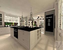 DOM W ŻARACH - Duża otwarta biała szara kuchnia w kształcie litery g z wyspą z oknem, styl art deco - zdjęcie od Boskie Wnetrza i Ty