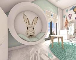 POKÓJ FANKI KRÓLICZKÓW - Średni biały niebieski pokój dziecka dla dziewczynki dla ucznia dla nastolatka - zdjęcie od Boskie Wnetrza i Ty - Homebook