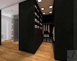 ARANŻACJA SYPIALNI W ODCIENIACH CIEPŁEGO DREWNA - Mała otwarta garderoba przy sypialni, styl industrialny - zdjęcie od Boskie Wnetrza i Ty