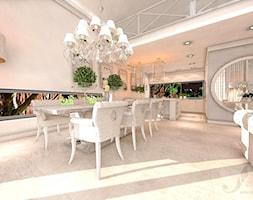 DOM Z OTWARTA ANTESOLĄ - Duża otwarta biała jadalnia w salonie, styl art deco - zdjęcie od Boskie Wnetrza i Ty