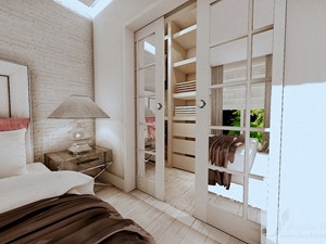 ARANŻACJA DOMU W GŁOGOWIE 1 - Średnia biała sypialnia małżeńska z garderobą, styl prowansalski - zdjęcie od Boskie Wnetrza i Ty