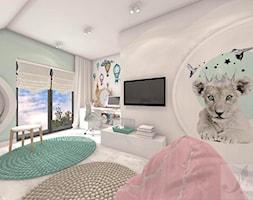 POKÓJ FANKI KRÓLICZKÓW - Duży biały zielony pokój dziecka dla dziewczynki dla ucznia dla nastolatka - zdjęcie od Boskie Wnetrza i Ty - Homebook