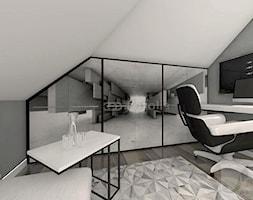 BIURO W DOMU - Małe szare biuro domowe kącik do pracy na poddaszu w pokoju, styl industrialny - zdjęcie od Boskie Wnetrza i Ty
