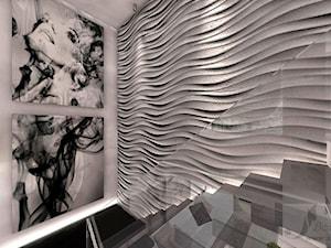 ARANŻACJA SALONU Z ANTRESOLA - Średnie szerokie schody jednobiegowe betonowe, styl nowoczesny - zdjęcie od Boskie Wnetrza i Ty