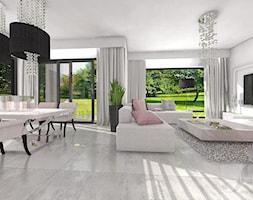 DOM W GŁOGOWIE - Średni biały salon z jadalnią, styl glamour - zdjęcie od Boskie Wnetrza i Ty