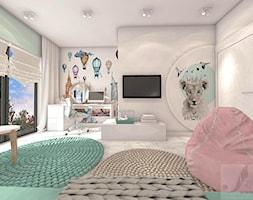 POKÓJ FANKI KRÓLICZKÓW - Duży biały szary pokój dziecka dla dziewczynki dla ucznia dla malucha dla nastolatka - zdjęcie od Boskie Wnetrza i Ty - Homebook