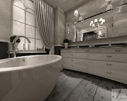 ARANŻACJA DOMU W GŁOGOWIE 1 - Mała szara łazienka na poddaszu w bloku w domu jednorodzinnym z oknem, styl prowansalski - zdjęcie od Boskie Wnetrza i Ty
