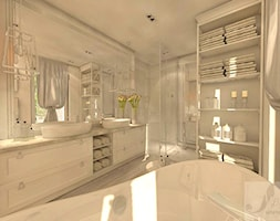 DOM Z OTWARTA ANTESOLĄ - Duża biała łazienka na poddaszu w bloku w domu jednorodzinnym z oknem, styl vintage - zdjęcie od Boskie Wnetrza i Ty