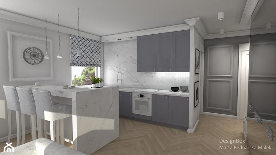 Aranżacje wnętrz - Kuchnia: New Hamptons - Mała otwarta biała szara kuchnia w kształcie litery l w aneksie z wyspą, styl nowojorski - Designbox Marta Bednarska-Małek. Przeglądaj, dodawaj i zapisuj najlepsze zdjęcia, pomysły i inspiracje designerskie. W bazie mamy już prawie milion fotografii!