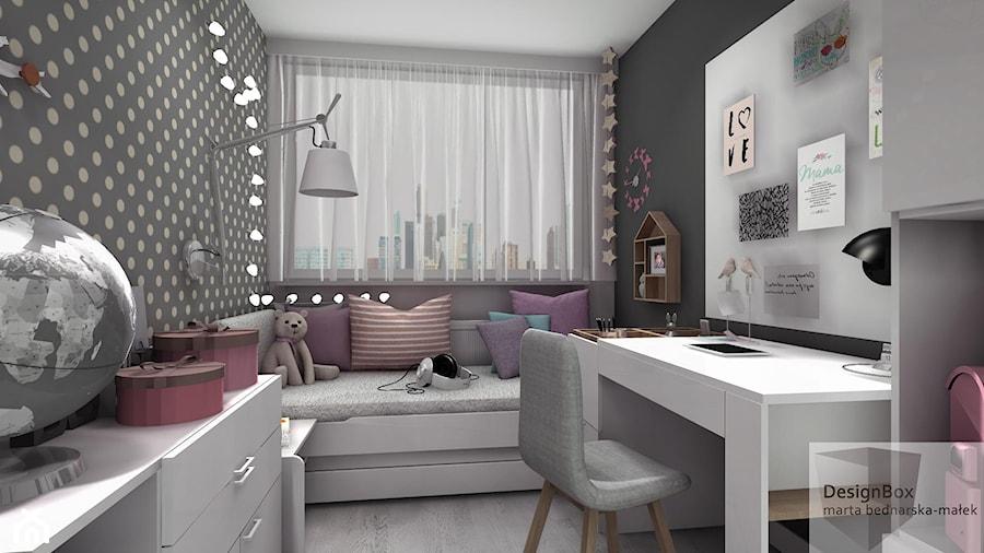 Pokoik Lenki - Mały biały czarny pokój dziecka dla dziewczynki dla ucznia dla nastolatka, styl nowoczesny - zdjęcie od Designbox Marta Bednarska-Małek
