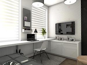 Pokój dziewczynki - Średni biały szary pokój dziecka dla dziewczynki dla nastolatka, styl nowoczesny - zdjęcie od Designbox Marta Bednarska-Małek