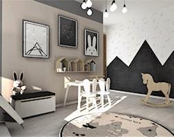 Pokój Arturka - Średni szary brązowy czarny pokój dziecka dla chłopca dla dziewczynki dla malucha, styl skandynawski - zdjęcie od Designbox Marta Bednarska-Małek