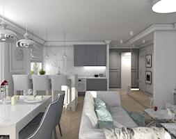 New Hamptons - Mały szary biały salon z kuchnią z jadalnią, styl nowojorski - zdjęcie od Designbox Marta Bednarska-Małek