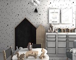 Pokoik trzyletniej Liwii - Mały biały pokój dziecka dla chłopca dla dziewczynki dla malucha, styl skandynawski - zdjęcie od Designbox Marta Bednarska-Małek