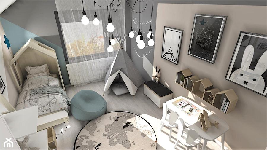 Pokój Arturka - Średni szary pokój dziecka dla chłopca dla ucznia dla malucha, styl skandynawski - zdjęcie od Designbox Marta Bednarska-Małek