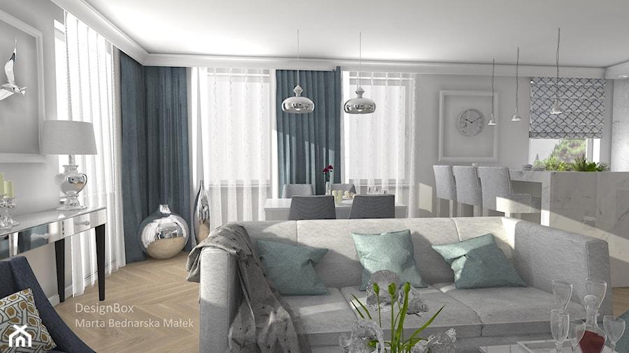 Aranżacje wnętrz - Salon: New Hamptons - Średni salon z kuchnią z jadalnią, styl nowojorski - Designbox Marta Bednarska-Małek. Przeglądaj, dodawaj i zapisuj najlepsze zdjęcia, pomysły i inspiracje designerskie. W bazie mamy już prawie milion fotografii!