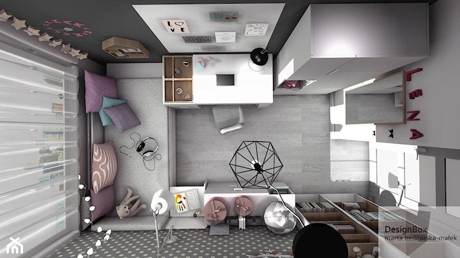 Pokoik Lenki - Mały biały szary pokój dziecka dla dziewczynki dla ucznia dla malucha dla nastolatka, styl nowoczesny - zdjęcie od Designbox Marta Bednarska-Małek