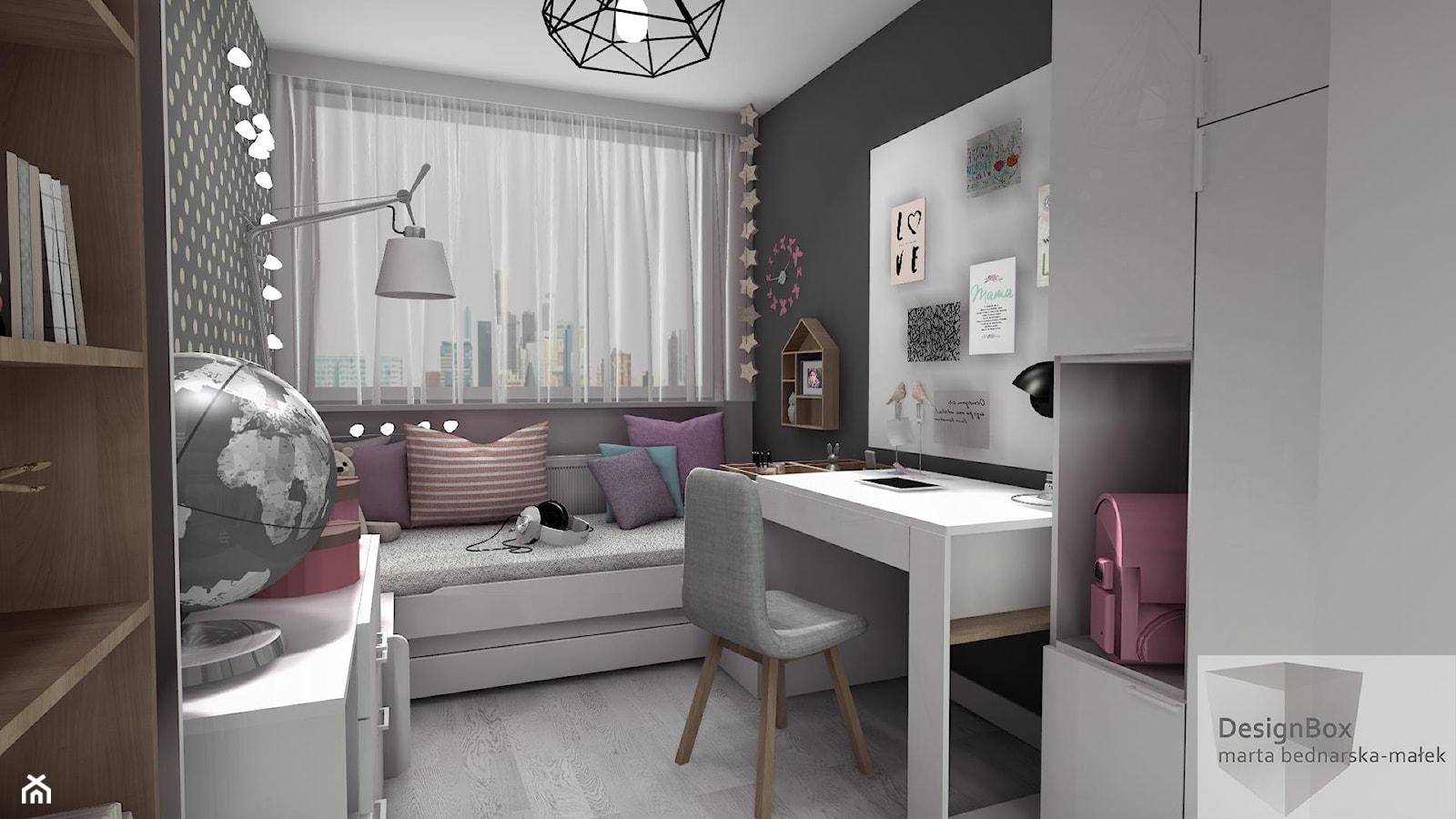 Pokoik Lenki - Średni szary pokój dziecka dla dziewczynki dla ucznia dla nastolatka, styl nowoczesny - zdjęcie od Designbox Marta Bednarska-Małek - Homebook