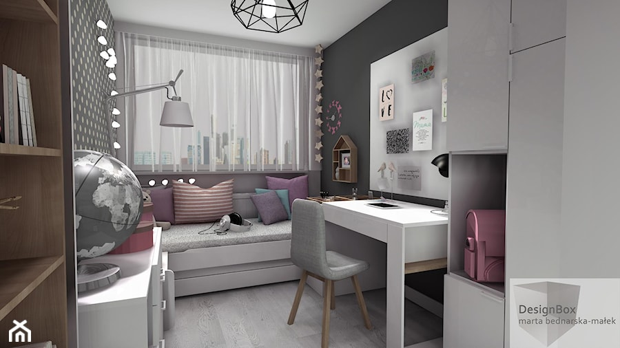 Pokoik Lenki - Średni szary pokój dziecka dla dziewczynki dla ucznia dla nastolatka, styl nowoczesny - zdjęcie od Designbox Marta Bednarska-Małek