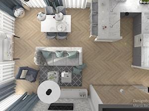 New Hamptons - Średni salon z kuchnią z jadalnią, styl nowojorski - zdjęcie od Designbox Marta Bednarska-Małek