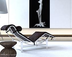 Małe beżowe biuro pracownia, styl nowoczesny - zdjęcie od Mamoko architekci