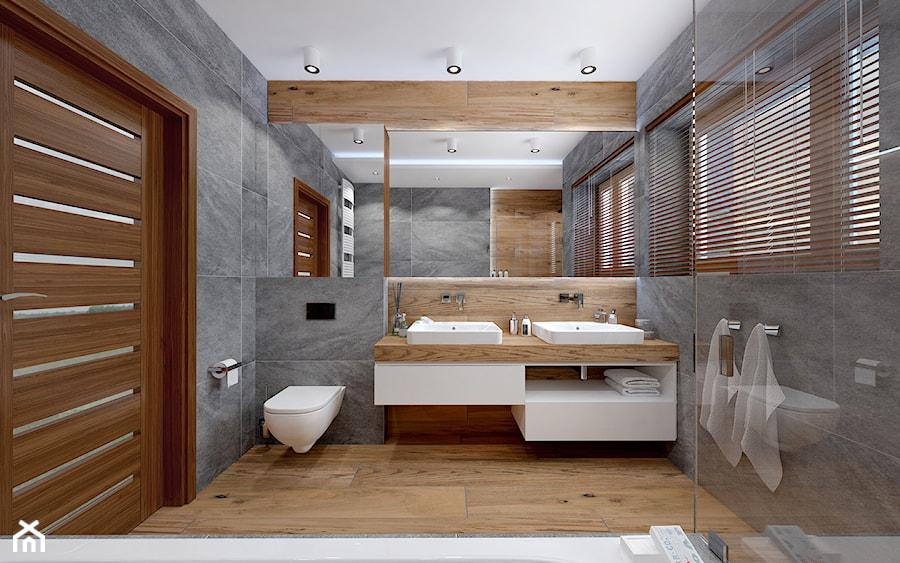 Dom szeregowy, Nefrytowa-Wrocław - Średnia duża szara łazienka w domu jednorodzinnym z oknem, styl nowoczesny - zdjęcie od rs