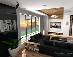 Salon z biokominkiem - zdjęcie od Aleksandra Tymińska Projektowanie Wnętrz