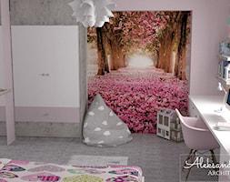 Pokój dla dziewczynki I Włodawa - Średni szary różowy pokój dziecka dla dziewczynki dla ucznia dla m ... - zdjęcie od Aleksandra Tymińska Projektowanie Wnętrz - Homebook