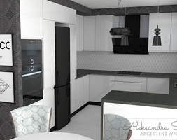 Bia%C5%82o-czarna+kuchnia+glamour+-+zdj%C4%99cie+od+Aleksandra+Tymi%C5%84ska+Projektowanie+Wn%C4%99trz