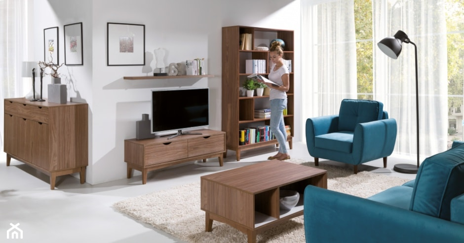 niebieska sofa, beżowy dywan, meble z ciemnego drewna